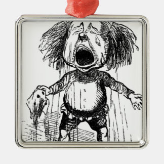 Loud Crying Boy Funny Cartoon Drawing Tears Metal Ornament