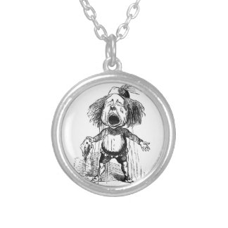 Loud Crying Boy Funny Cartoon Drawing Tears Silver Plated Necklace