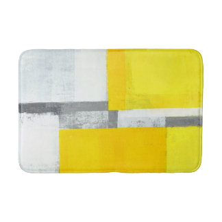 'Loud' Grey and Yellow Abstract Art Bathroom Mat