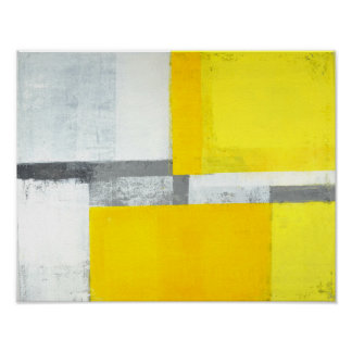 'Loud' Grey and Yellow Abstract Art Poster