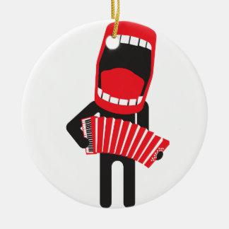 loud singing accordion player round ceramic ornament