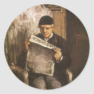 Louis Auguste Cezanne Father Of The Artist Reading Classic Round Sticker