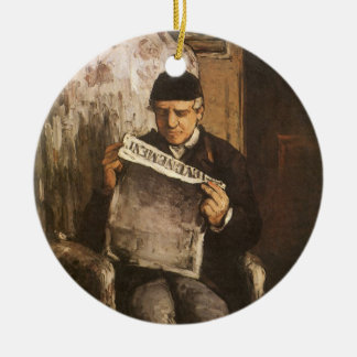 Louis Auguste Cezanne Father Of The Artist Reading Round Ceramic Ornament