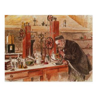 Louis Pasteur experimenting Postcard
