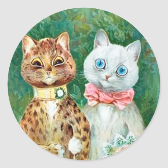 """Louis Wain Bride & Groom Cats """"A Happy Pair"""" Classic Round Sticker"""