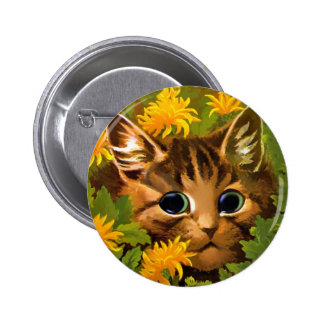 Louis Wain Cat Button, Tabby Cat in Garden 2 Inch Round Button