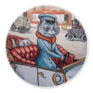 Louis Wain Cat Chauffeur Decorative Knob Ceramic Knob