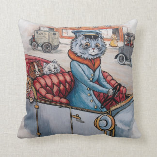 Louis Wain - Cat Chauffeur with Kittens Throw Pillow