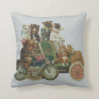 Louis Wain Cats and Dogs in Antique Car Throw Pillow