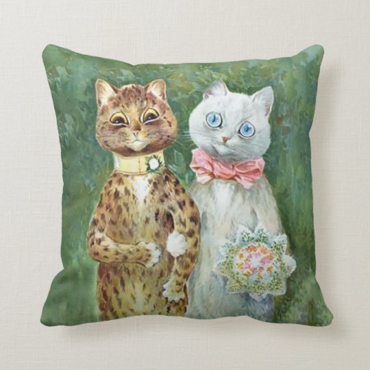 "LOUIS WAIN CATS Bride & Groom ""A Happy Pair"" Throw Pillow"