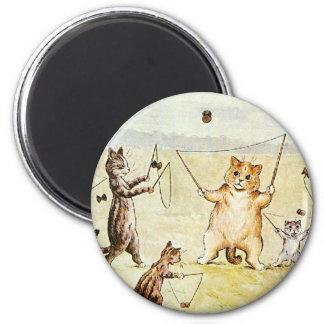 Louis Wain Cats on a Beach Artwork Magnet