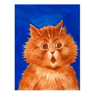 Louis Wain Surprised Orange Cat Postcard