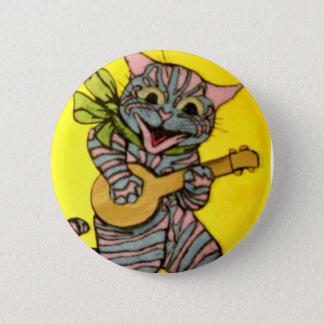 Louis Wain Ukulele Cat Artwork 2 Inch Round Button