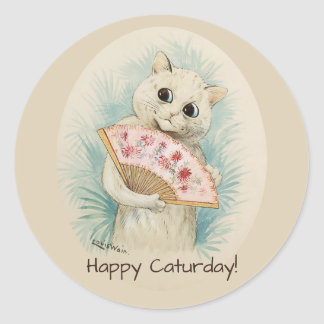 Louis Wain White cat with a fan CC0388 Round Sticker