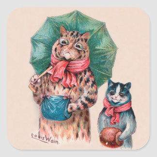 Louis Wain's Cat and Kitten With Umbrellas Square Sticker