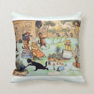Louis Wain's Cats - It's a Garden CATastrophe Throw Pillow