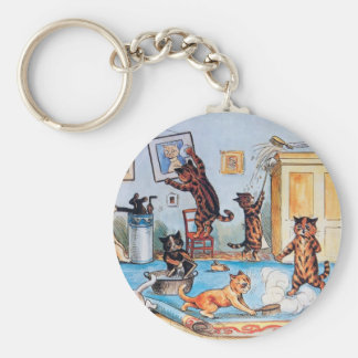 LOUIS WAIN'S FUNNY SPRING CLEANING CATS KEYCHAIN