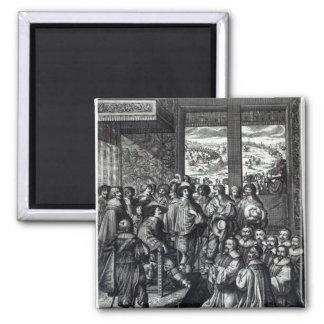 Louis XIII  back from the siege of La Rochelle Magnet