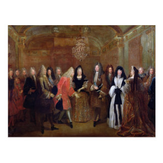 Louis XIV  welcomes the Elector of Saxony Postcard