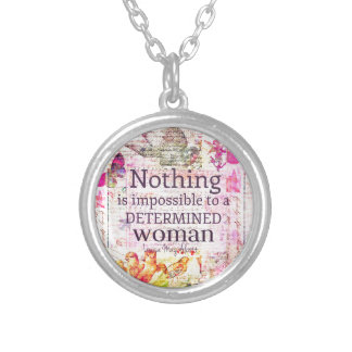 Louisa May Alcott WOMAN quote Silver Plated Necklace