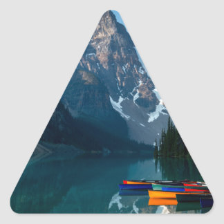Louise lake in Banff national park Alberta, Canada Triangle Sticker