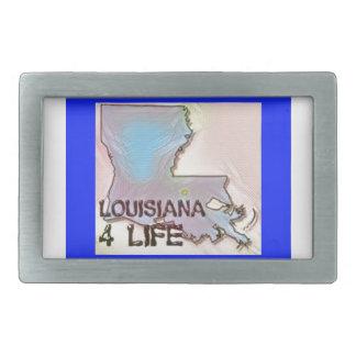 """Louisiana 4 Life"" State Map Pride Design Belt Buckles"