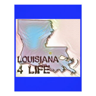 """""""Louisiana 4 Life"""" State Map Pride Design Letterhead Design"""