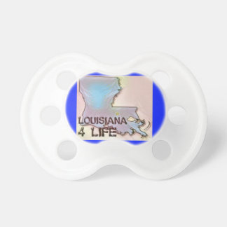 """Louisiana 4 Life"" State Map Pride Design Pacifier"