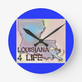 """Louisiana 4 Life"" State Map Pride Design Round Clock"