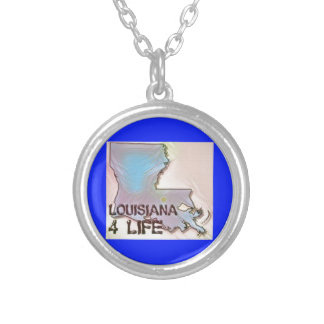 """Louisiana 4 Life"" State Map Pride Design Silver Plated Necklace"