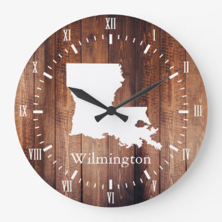 Louisiana Barn Wood Planks White Roman Numeral Large Clock