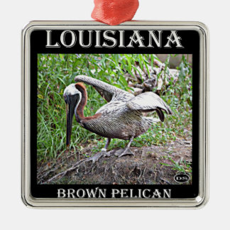 Louisiana Brown Pelican Silver-Colored Square Ornament
