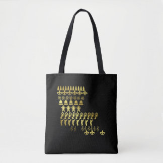 Louisiana Cajun Christmas Gold Print Tote