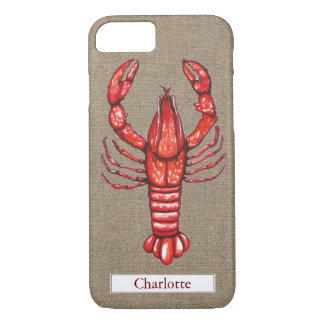 Louisiana Cajun Crawfish Burlap Custom Name iPhone 8/7 Case