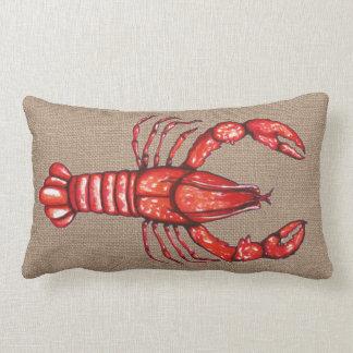 Louisiana Cajun Crayfish Faux Burlap Lumbar Pillow
