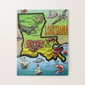 Louisiana Cartoon Map Puzzle