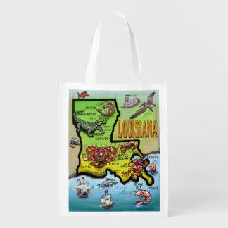 Louisiana Cartoon Map Reusable Grocery Bag