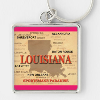Louisiana City and Towns State Pride Map Keychains