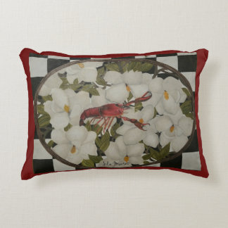 Louisiana crawfish and magnolias pillow