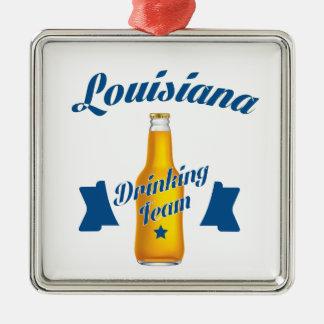 Louisiana Drinking team Silver-Colored Square Ornament