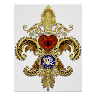 Louisiana Fleur De Lis With Shadow Poster