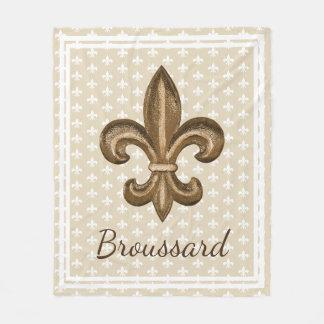 Louisiana French Gold Fleur de Lis Family Name Fleece Blanket