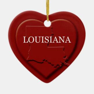 Louisiana Heart Map Christmas Ornament