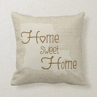 Louisiana-Home Sweet Home burlap-look custom name Throw Pillow