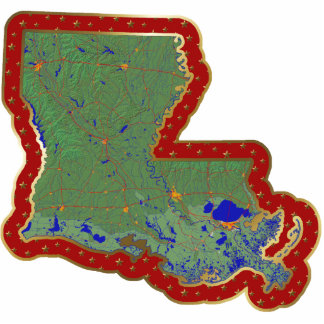 Louisiana Map Christmas Ornament Cut Out