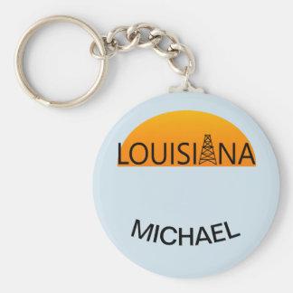 Louisiana Oil Field Sunset Custom Keychain
