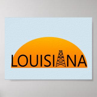 Louisiana Oil Field Sunset Poster Art