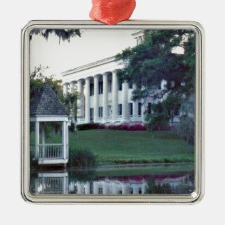 Louisiana Plantation Silver-Colored Square Ornament