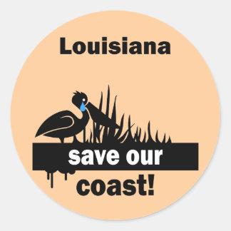 Louisiana save our coast classic round sticker
