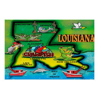 Louisiana State Cartoon Poster